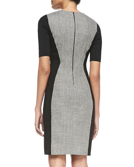 Axel Short-Sleeve Combo Sheath Dress