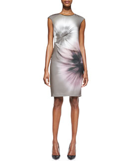 Elie Tahari Ginger Print Side-Pleated Sheath Dress