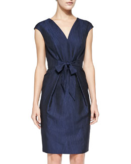 Carmen Marc Valvo White Label Cap-Sleeve Tie-Front Cocktail Dress