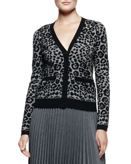 Milly Cheetah-Print Jacquard Cardigan