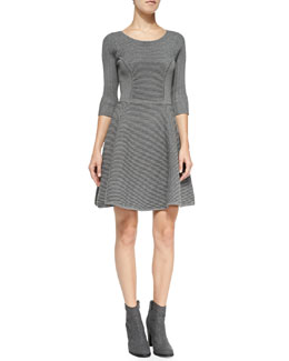 Milly Textured Fit & Flare Knit Dress