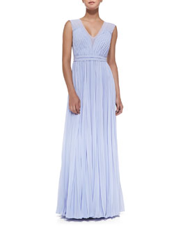 Sleeveless Pleated V-Neck Gown