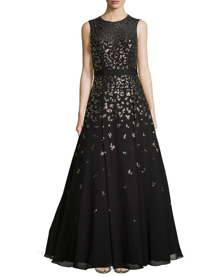 Sleeveless Beaded Illusion-Neck Gown