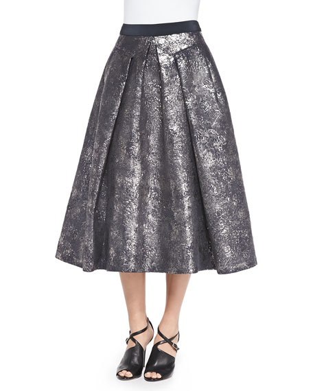Pleated Foil Matelassé Skirt