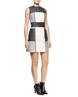 Victoria Beckham Denim Borg Paneled Colorblock Dress