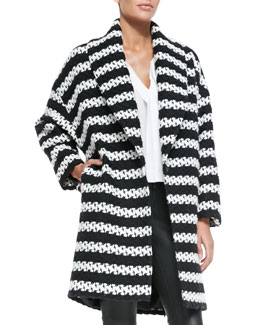 Alice + Olivia Ralter Striped Tweed Oversized Coat