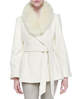 Alice + Olivia Meridian Fur-Collar Tie-Waist Coat