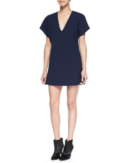 Alice + Olivia Bema V-Neck Crepe Tunic Dress