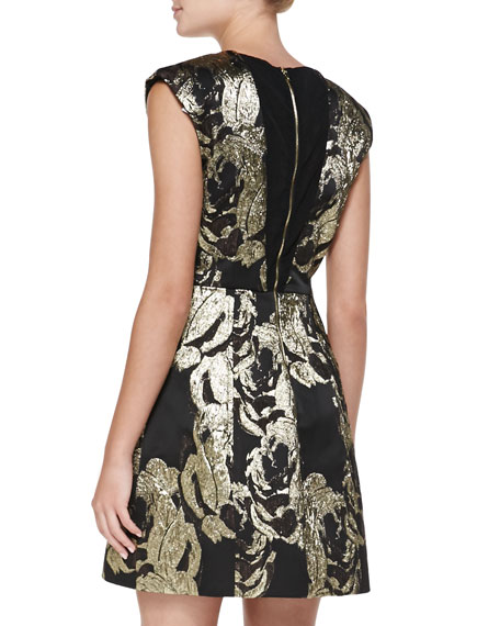 Pacey Metallic Jacquard Structured Dress