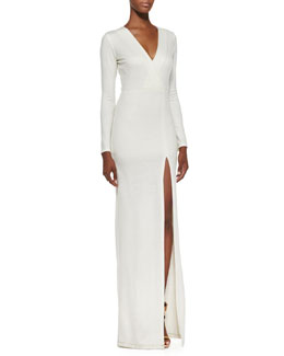 Alice + Olivia Debbie Faux Wrap-Front Maxi Dress