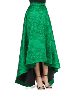 Alice + Olivia Cohe Embroidered High-Low Long Skirt