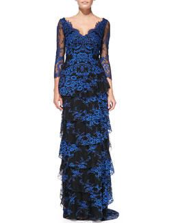 Alice + Olivia Alyssa Tiered Contrast Lace Gown