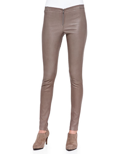 Front-Zip Leather Leggings