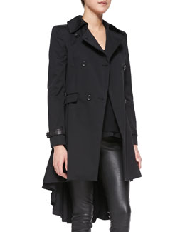 Alice + Olivia Double-Breasted High-Low Trenchcoat