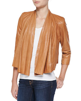 Alice + Olivia Open-Front Draped Leather Jacket
