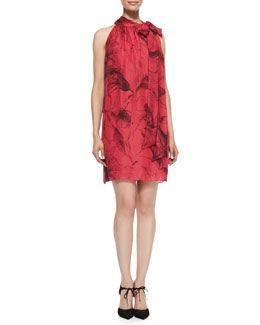 Milly Tie-Neck Floral-Print Silk Dress