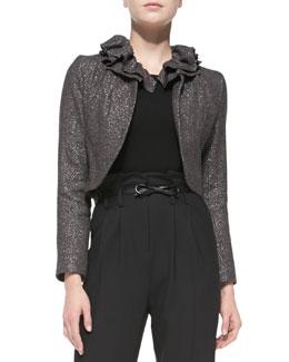 Milly Ruffled-Collar Tweed Jacket