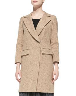 Milly Cleo Tweed Bracelet-Sleeve Coat