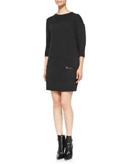 Milly Back-Zip Rib-Trim Sweaterdress