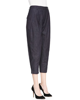 Elle Sasson Gina Pleated Denim Tapered Pants