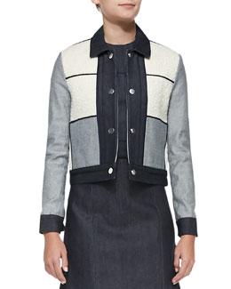 Victoria Beckham Denim Denim/Tweed Patchwork Jacket