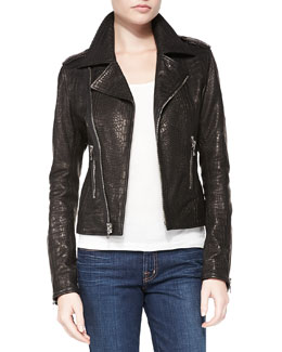 RtA Denim Snake-Print Leather Moto Jacket