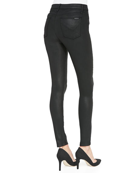 Barbara High-Rise Waxed Skinny Jeans, Black