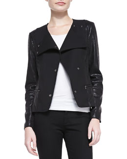 7 For All Mankind Mixed-Fabric Snap Jacket