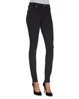7 For All Mankind High-Waist Doubleknit Skinny Jeans, Black