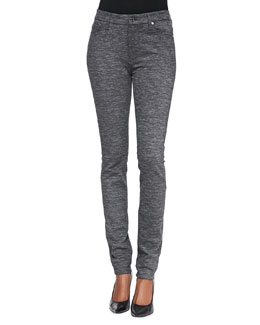 7 For All Mankind Knit High-Waist Skinny-Leg, Heather Charcoal