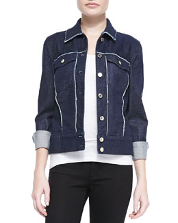 7 For All Mankind Raw-Edge Contrast Denim Jacket