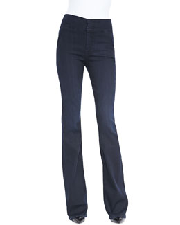 7 For All Mankind High-Waist Wide-Leg Denim Trousers, Lilah Blue