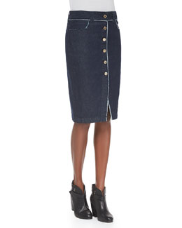 7 For All Mankind Raw Edge Button-Front Denim Skirt