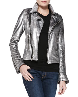 RtA Denim Space Cowboy Metallic Leather Jacket
