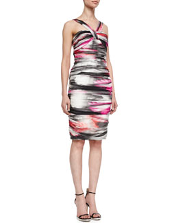 Carmen Marc Valvo Airbrushed Halter-Style Cocktail Dress, Multicolor
