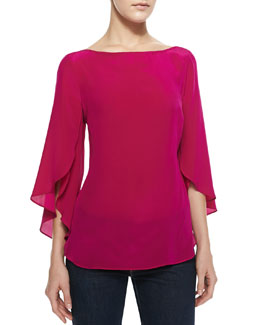 Milly Butterfly-Sleeve Silk Top, Raspberry