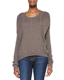 Alice + Olivia Mixed-Knit Loose Sweater