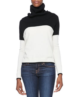 Alice + Olivia Colorblock Turtleneck Knit Sweater