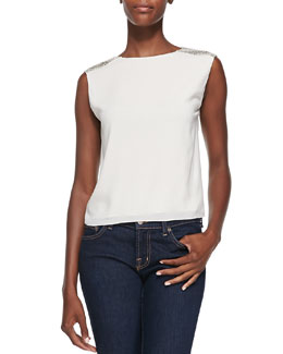 Alice + Olivia Baka Sleeveless Sequined-Shoulder Top