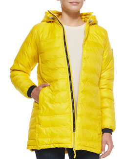 Camp Hooded Mid-Length Puffer Jacket, Yellow