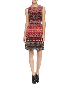 M Missoni Degrade Sleeveless Ripple-Knit Dress