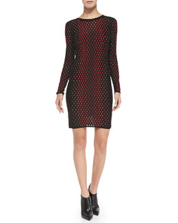 M Missoni Crewneck Vertical Dash-Print Long-Sleeve Dress
