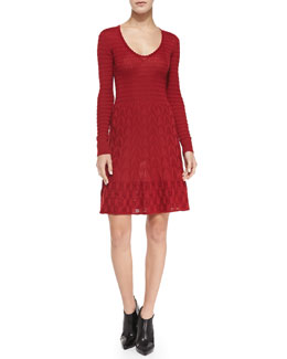 M Missoni Long-Sleeve Knit Fit-and-Flare Dress