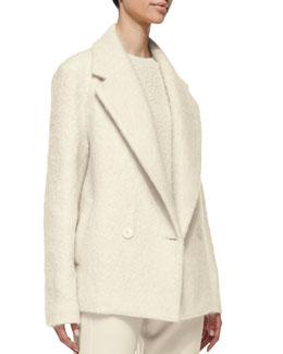Theory Lianmar Wide-Lapel Fleece Coat