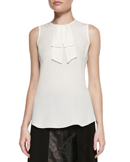 Theory Turnia Tie-Front Silk Top