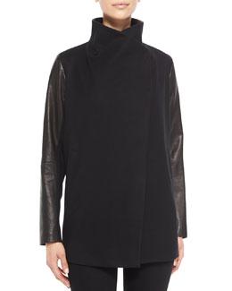 Theory Naomo Leather-Sleeve Cashmere Jacket