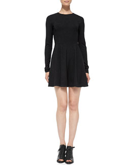 Theory Tillora Long-Sleeve Flare-Skirt Cashmere Dress