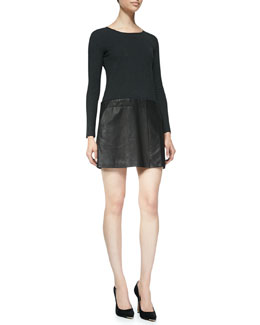 Theory Bowmont Knit/Leather Combo Dress