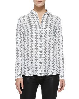 Theory Aquilina B Silk Button-Front Blouse, Black-White