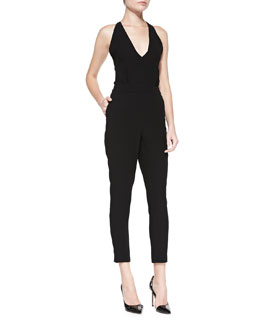 Theory Roxie Tie-Back Crepe Jumpsuit